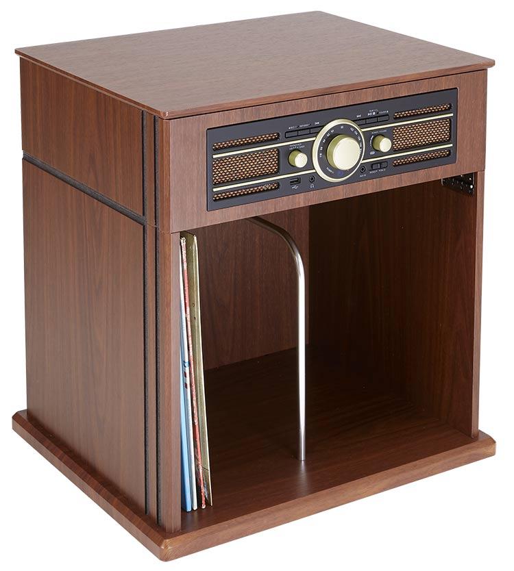 Tocadiscos Mueble Vintage Bigben con estante para Vinilos - Imagen#1