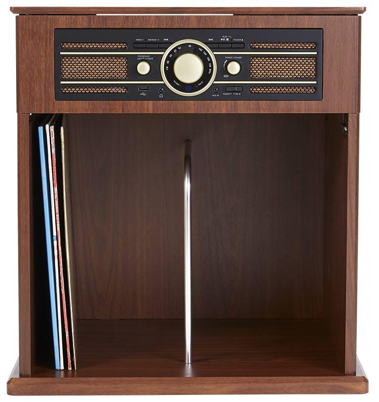 Tocadiscos Mueble Vintage Bigben con estante para Vinilos - Imagen#2tutu