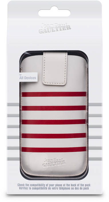 "Universal Medium Pouch ""Marinière"" Jean Paul Gaultier (white & red) - Immagine"
