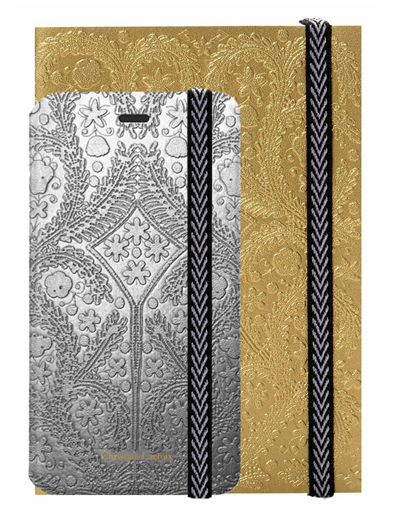 "CHRISTIAN LACROIX folio case ""Paseo"" (Silver) + notebook ""Paseo"" (Gold) - Packshot"