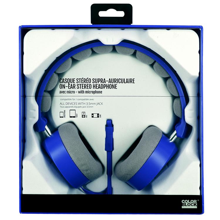 Cuffie Stereo con cavo Colorblock (Royal Blue) - Immagine #2