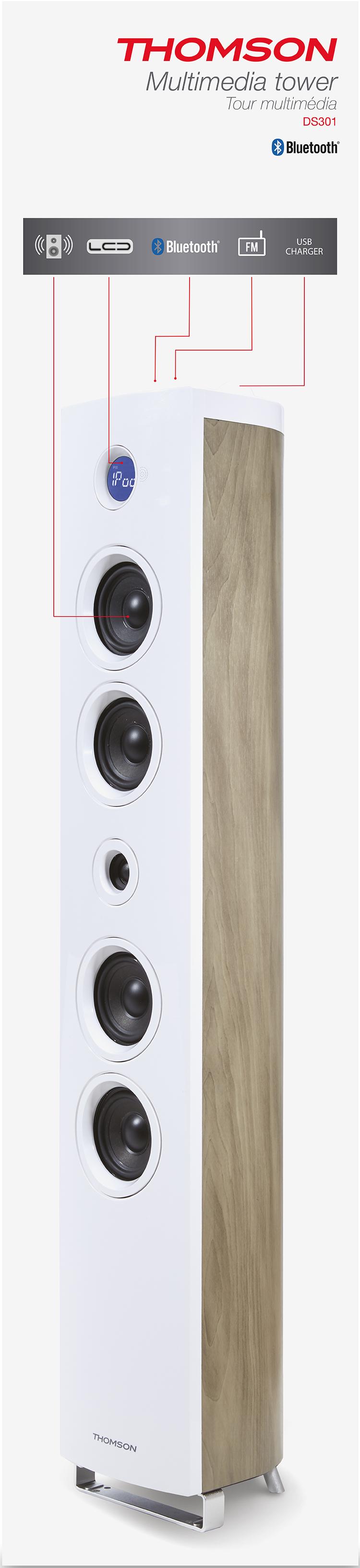 Multimedia Tower 'Wood' (White) - Immagine #2