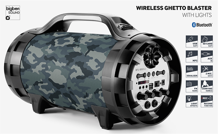 Wireless Ghetto Blaster with lights BT50ARMY BIGBEN - Immagine#2tutu#4tutu#5