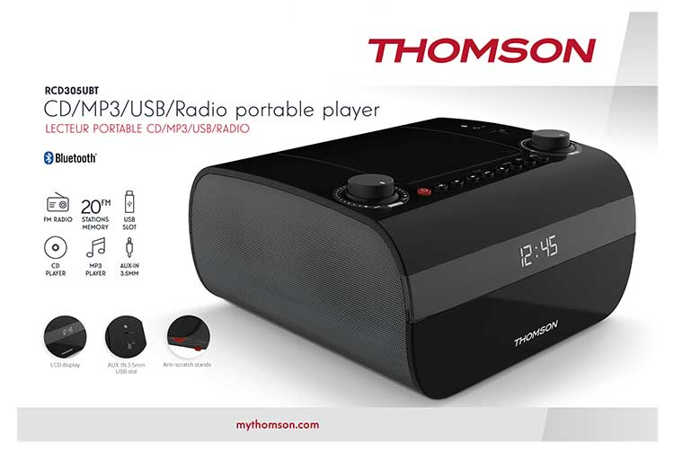 CD/MP3/USB/RADIO portable player RCD305UBT THOMSON - Immagine#2tutu