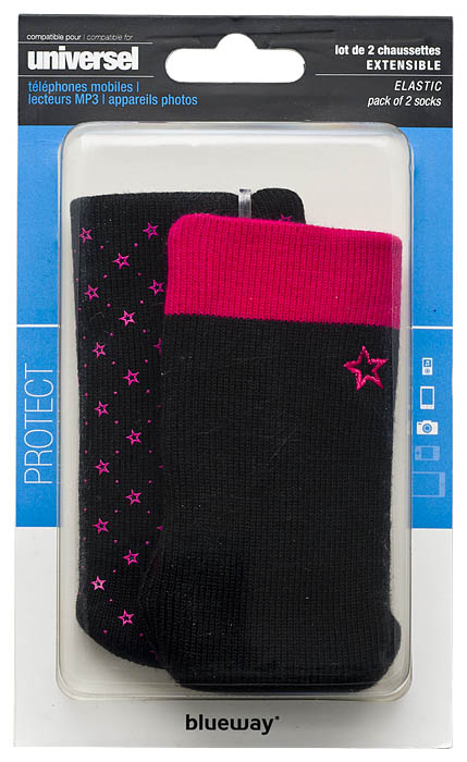 Set of two cotton sock (Black and Pink) - Image