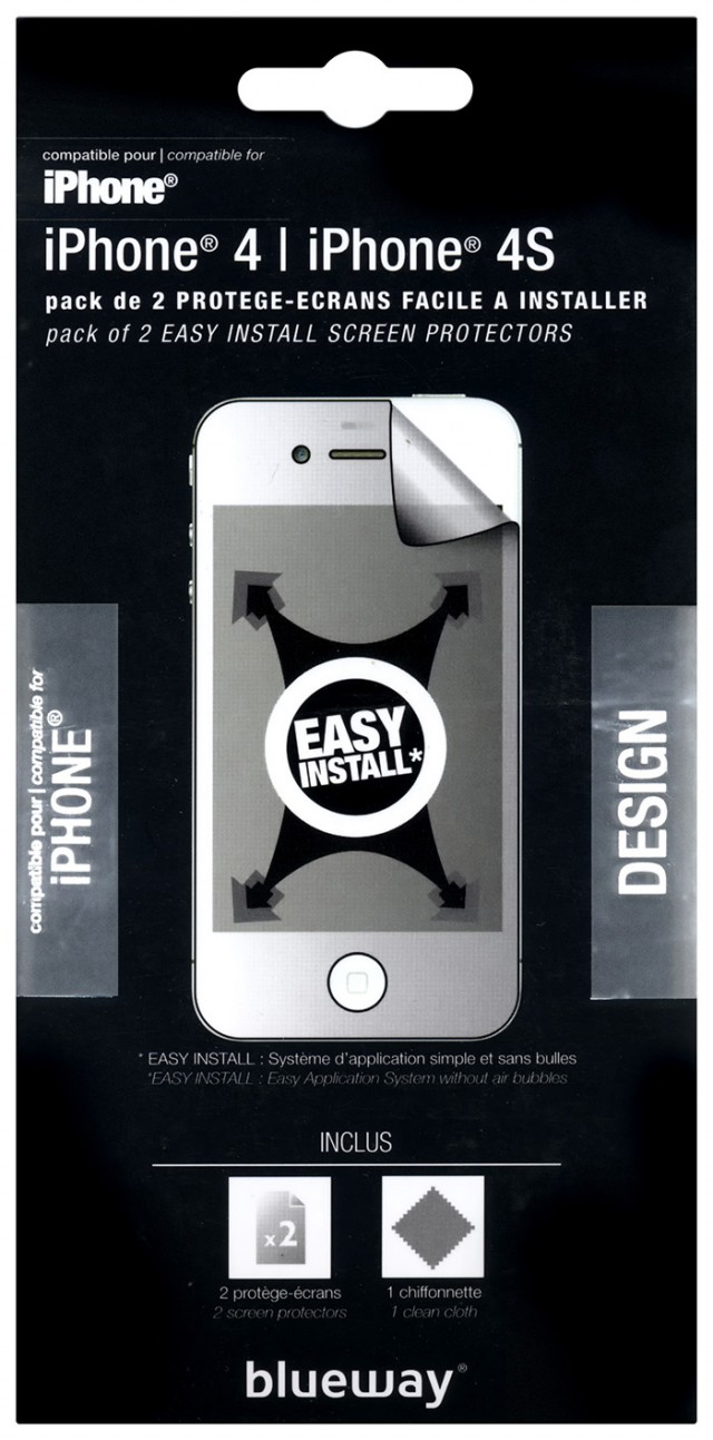 """Set of two """"One Touch"""" screen protector for iPhone® 4/4S - Packshot"""