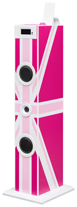 "Multimedia tower with karaoke function ""Union Jack"" (Pink) - Packshot"