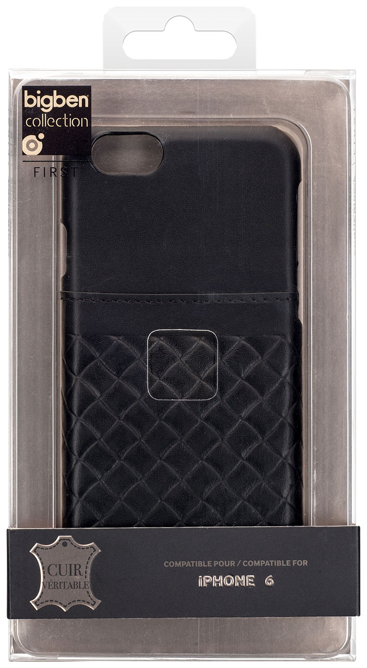 Hard Case with integrated card-holder 'Leather' (Black) - Image