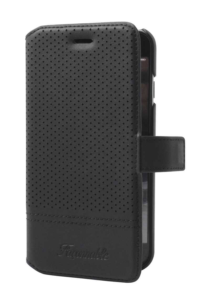 FACONNABLE Folio Case 'Perforated' (Black) - Image   #1