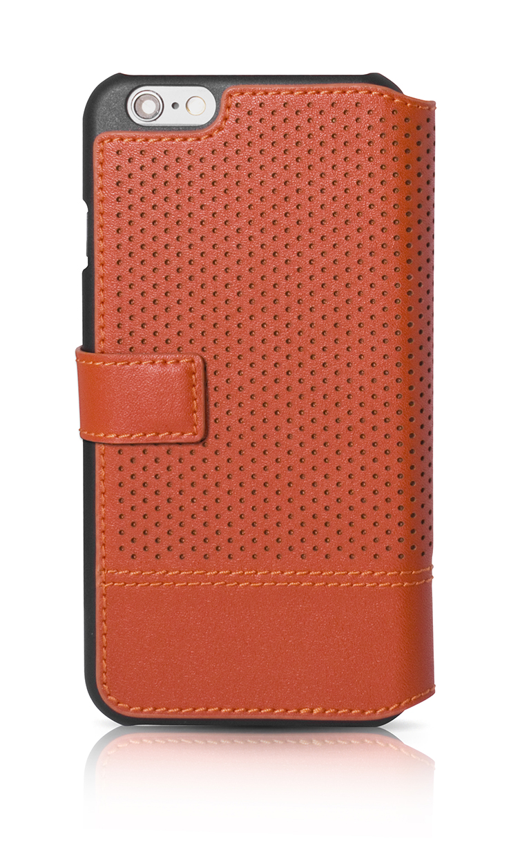 FACONNABLE Folio Case 'Perforated' (Orange) - Image